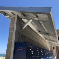 Side of Metal Standing Seam Canopy