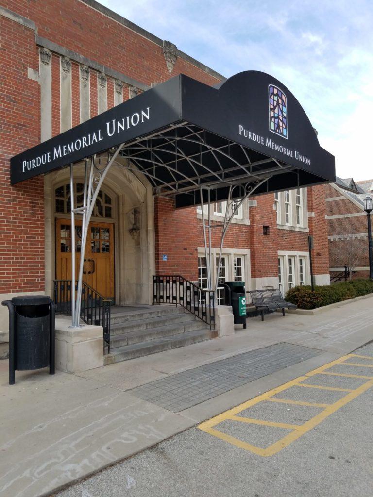 Award Winning Sunbrella Canvas Awning at Purdue Memorial Union
