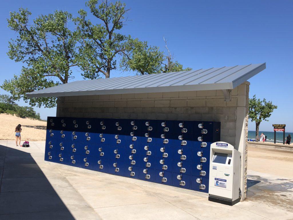 Standing Seam Metal Canopy Protecting Lockers