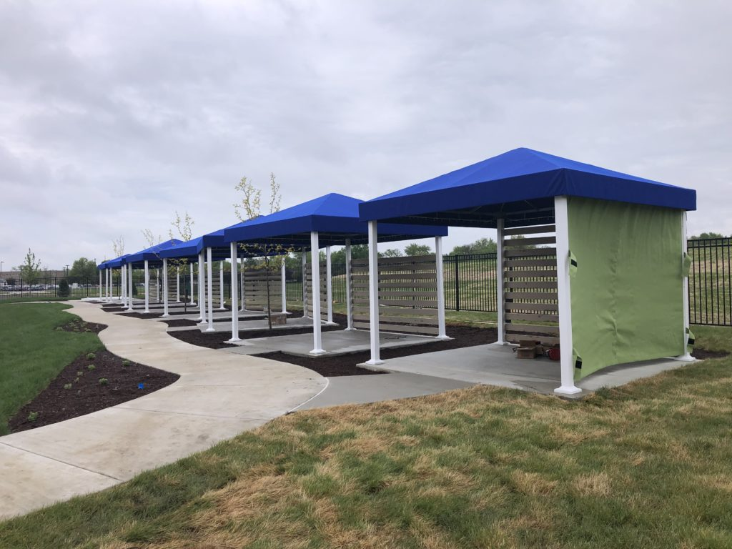 Custom canvas shade structures YMCA pool in Crown Point.