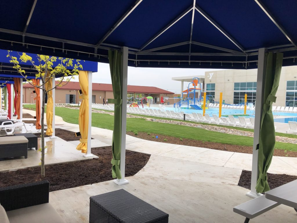 Sun Protection Poolside Canvas Resort Cabanas at YMCA