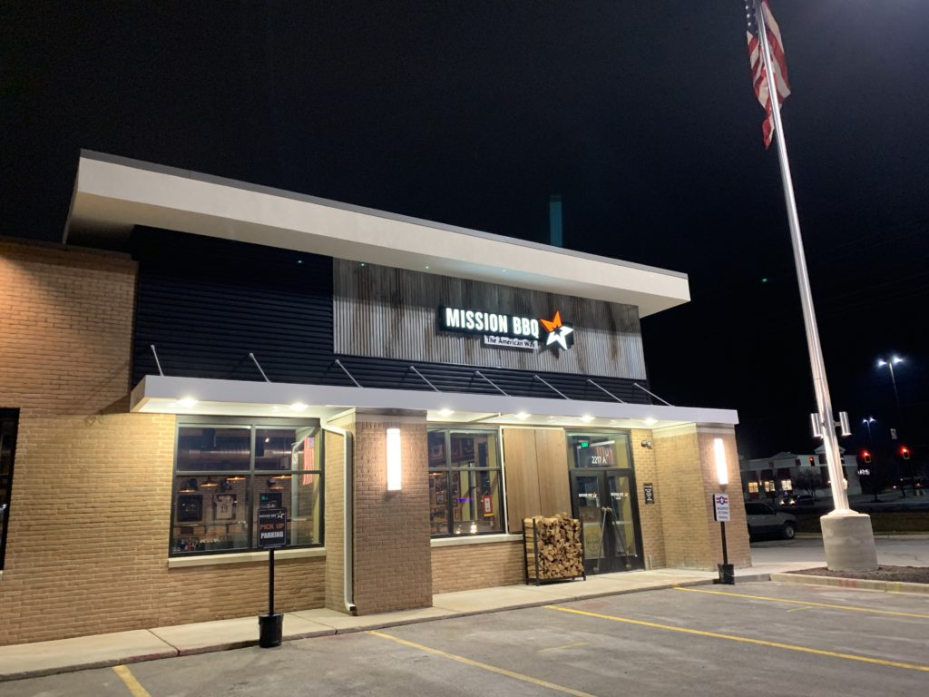 Architectural Canopy Installation at MISSION BBQ |MERRILLVILLE, IN