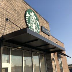 Standing Seam Metal Awning at Starbucks
