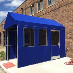 Custom blue canvas enclosure